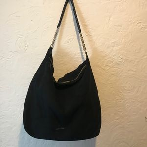 Calvin Klein Faux Suede Black Slouchy Hobo with Ch